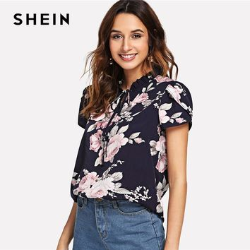 SHEIN Multicolor Streetwear Modern Lady Petal Sleeve Tie Neck Floral Print Stand Collar Blouse Summer Women Casual Shirt Top