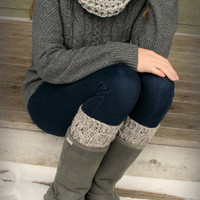 Crochet Infinity Scarf and Boot Cuff Set in Grey