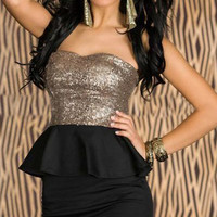 Gold Sequin Bandeau Dress With Black Peplum Waist and Bodycon Mini Skirt