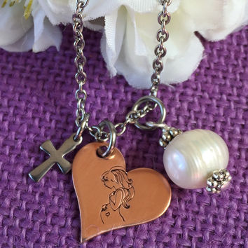 Expecting Mom Gift -Pregnancy - Mothers necklace - Babyshower Gift - Mixed metals necklace - Expecting mother necklace - Religious