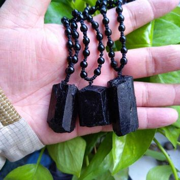 DCCKU62 3pcs Natural black tourmaline ore energy chakra pendant Gems stone Crystal Healing Christmmas gift steering Black tourmaline