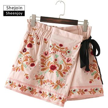ShejoinSheenjoy Fashion Rivet Floral Embroidery Skirt Shorts Women Wrap Casual Elastic High Waist Shorts Pantalon Corto Mujer