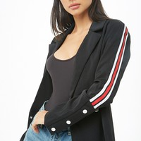 Striped-Trim Blazer