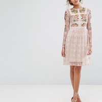 Frock & Frill Floral Embroidered Skater Mini Dress With Lace Trim at asos.com