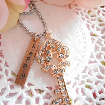 Hand Stamped  Necklace With Big Rose Gold Rhinestone Key Charm Personalized Customized