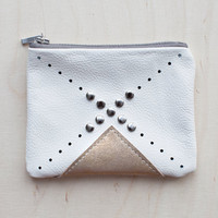 Nomad White Leather Coin Purse No. CP-2002