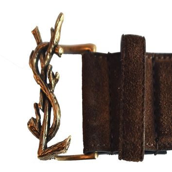Saint Laurent Brown Suede Y&l (85cm) 439974 Belt