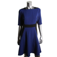 Maggy London Womens Colorblock Elbow Sleeves Wear to Work Dress