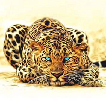 40x50cm Artwork Unframed Leopard Animals DIY Painting by Numbers Acrylic Picture Wall Art Canvas Painting Home Decor Unique Gift