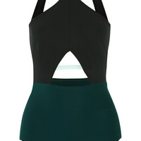 Flagpole Swim - Warren cutout color-block halterneck swimsuit