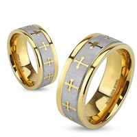 Faith In You -Gold IP and brushed silver stainless steel couples cross wedding ring