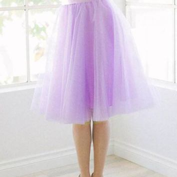 New Light Purple Grenadine Pleated High Waisted Tulle Tutu Homecoming Party Cute Elegant Skirt