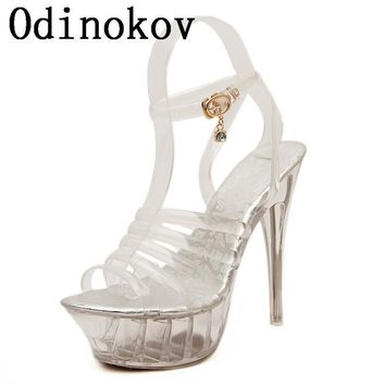 Odinokov Sexy Peep Toe Valentine Shoes Woman High Heel 14cm High Women High Heels Wo