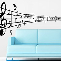 Note Notes Waves Music Musical Treble Clef Wall Vinyl Decal Sticker Design Interior Decor Bedroom Recording Music Studio C483