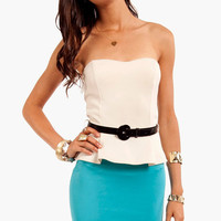 Vanna Belted Peplum Dress
