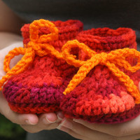 Baby girl booties camo orange purple red crochet with ties. 0-3 month Custom available.
