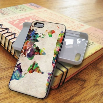 Watercolor World Map iPhone 5C Case