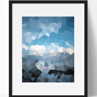 Abstract Blue Modern Wall Art #1 (Frame NOT Included)