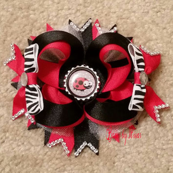 Red, Black, and Zebra Boutique Stacked Hair Bow with Ladybug Bottle Cap, Tulle, and Rhinestones