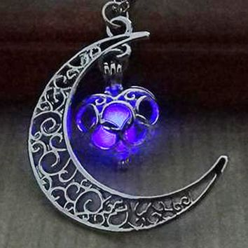 Atomic Purple Glow In The Dark Moon Heart Necklace