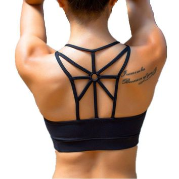LYZ Women's Padded Sports Bra Criss Cross Back High Impact Strappy Yoga Bra Black Large