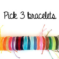 Pick 3 Pura Vida inspired bracelets, Costa Rican jewelry, rainbow bracelets, string bracelets, Linhasita thread, multiple bracelets, stacked