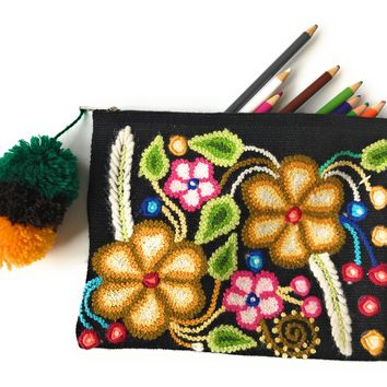Handmade Luxury Pencil Pouch, Cosmetic bag. Unique design. Large. Many Colors.