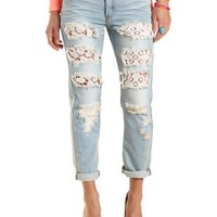 Lace-Lined Destroyed Boyfriend Jeans - Lt Wash Denim