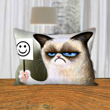 """PillowQ - Funny Cute Angry Cat Grumpy - Design for Pillow Cover 18""""x18"""" and 30""""x20"""" - Front Side Print or Full Side Print"""