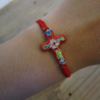 Red Cross Bracelet. Red bracelet. String bracelet.