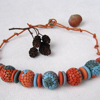 Bright colourful mosaic necklace Orange Gray Blue mosaic woman Polymer clay jewelry necklace Fantasy mosaic pattern mosaic rustic ornament