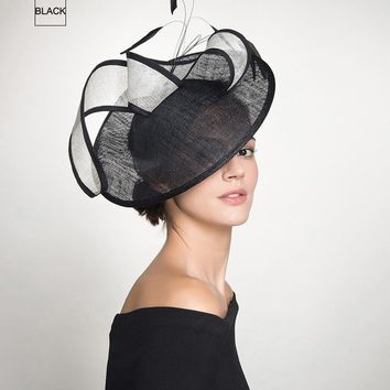Brim Elegant Linen Black Feather Fascinator
