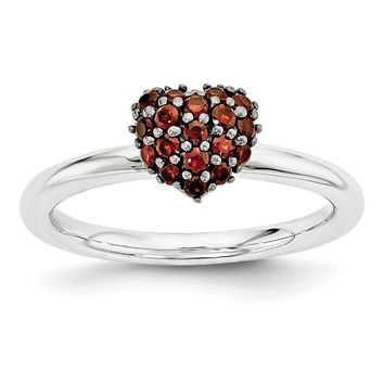 Sterling Silver Garnet Cluster Stackable Expressions 8mm Heart Ring
