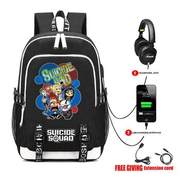 Student Backpack Children USB Charge School student backpack Travel Bags teenagers men women Laptop backpack Movie Batman Suicide Squad backpack 8 style AT_49_3