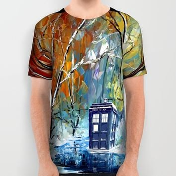 Starry Winter blue phone box Digital Art iPhone 4 4s 5 5c 6, pillow case, mugs and tshirt All Over Print Shirt by Three Second