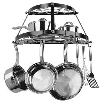 Range Kleen 2-Shelf Wrought Iron Pot Rack (Black)