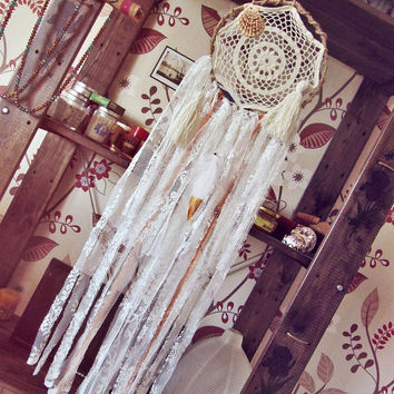 Gypsy Bedroom Wall Hanging Dream Catcher -  Boho Hippie Decor - Laces Dreamcatcher - Bohemian Wall Decor - White Dreamcatcher