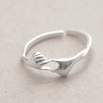 Cute Hand Ring New design, Sterling Silver Hand Ring, Adjustable Ring,gift for her,Silver Rings,Silver jewelry,cute rings,cute jewelry