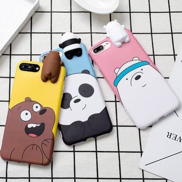 Fashion Cute Korean Color Cartoon 3D Teddy Bear Soft Silicone Phone Case For iPhone X 6 6s 7 8 Plus Full Cover Case Capa Fundas