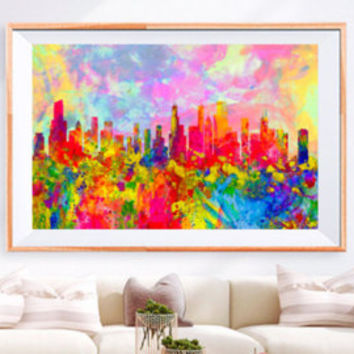 XL Poster Philadelphia City Skyline Art Abstract Print Photo Paper Watercolor Wall Decor Home (frame is not included) FREE Shipping USA !!!