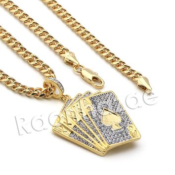 Lab diamond Micro Pave Shuffle Playing Cards Pendant w/ Miami Cuban Chain BR023
