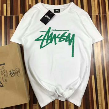 Stussy Stock Pigment Fashion Print Casual Short Sleeve Shirt Top Tee Blouse G-A-XYCL