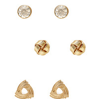 FOREVER 21 Knotted Stud Set Gold/Clear One
