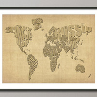 Typographic Text Map of the World Art Print on Etsy