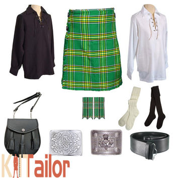 Irish National Tartan Wedding Kilt Outfit Deal Custom Made