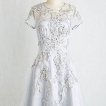 Pastel Mid-length Short Sleeves Fit & Flare Falling in Lovely Dress