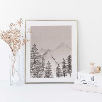Neutral Modern Forest Painting Watercolor Wall Art Print
