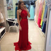 2016 Long Chiffon Formal Evening Dress Halter Crystal Gown robe de soiree New Arrival Red Mermaid Prom Dresses 3028