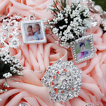Wedding Bouquet Photo Charms set of 5. Custom Personalized bridal bouquet charms. Memorial photo charm. Wedding Pendants.