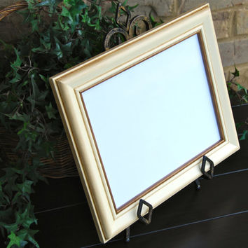 Shabby chic photo frame: Vintage antique ivory & dark mocha brown 8x10 hand-painted wood wall collage picture frame
